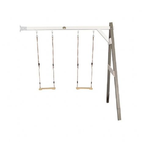 Norfolk Grey and White Wooden Kids Double Wall Mount Swing Set
